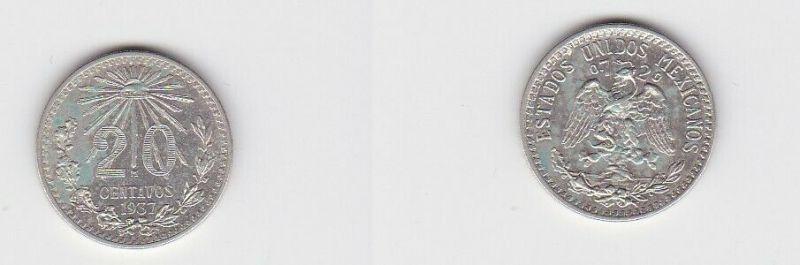 20 Centavos Silber Münze Mexiko 1937 (125907)