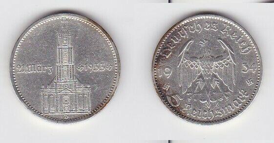 5 Mark Silber Münze 3. Reich Garnisonkirche 1934 D (127252)
