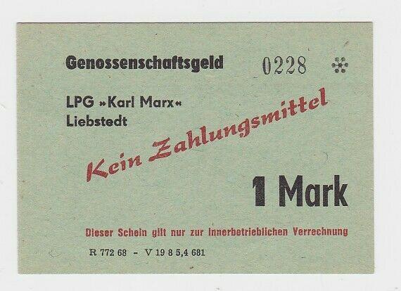 1 Mark Banknote DDR LPG Geld
