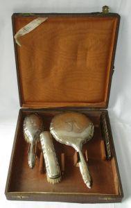 Antiker Reise Frisier Set 800er Silber, Kamm, Spiegel, Haarbürste (116801)