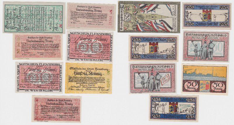 7 Banknoten Notgeld Stadt Flensburg um 1920 (122122)