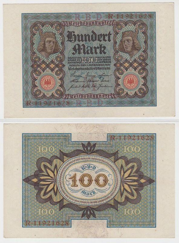 100 Mark Reichsbanknote Deutsches Reich 1.11.1920 Rosenberg 67 a (120169)