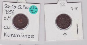 2 Pfennig Kupfer Münze Sachsen-Coburg-Gotha 1856 F (120568)