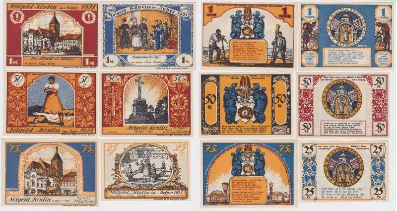 6 Banknoten Notgeld Stadt Köslin Koszalin in Pommern 1921 (120526)