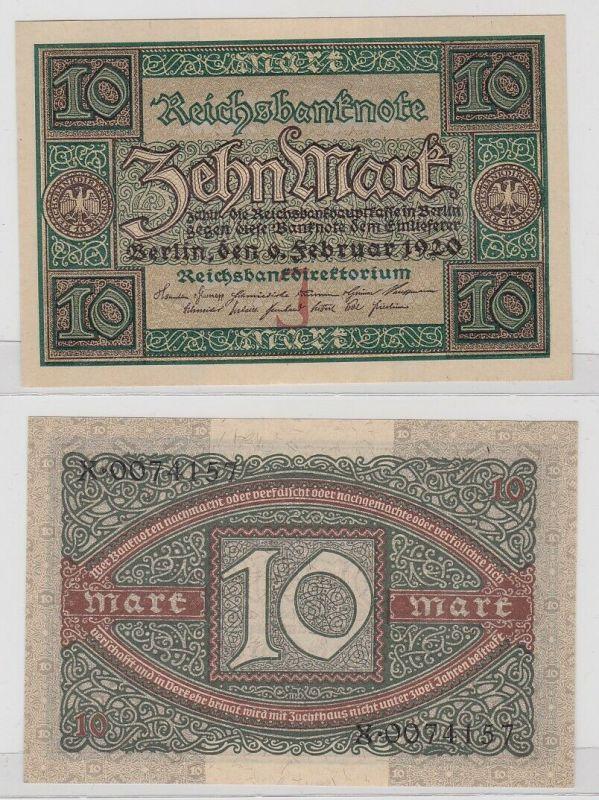10 Mark Reichsbanknote Deutsches Reich 6.2.1920 Rosenberg 63 a (122543)