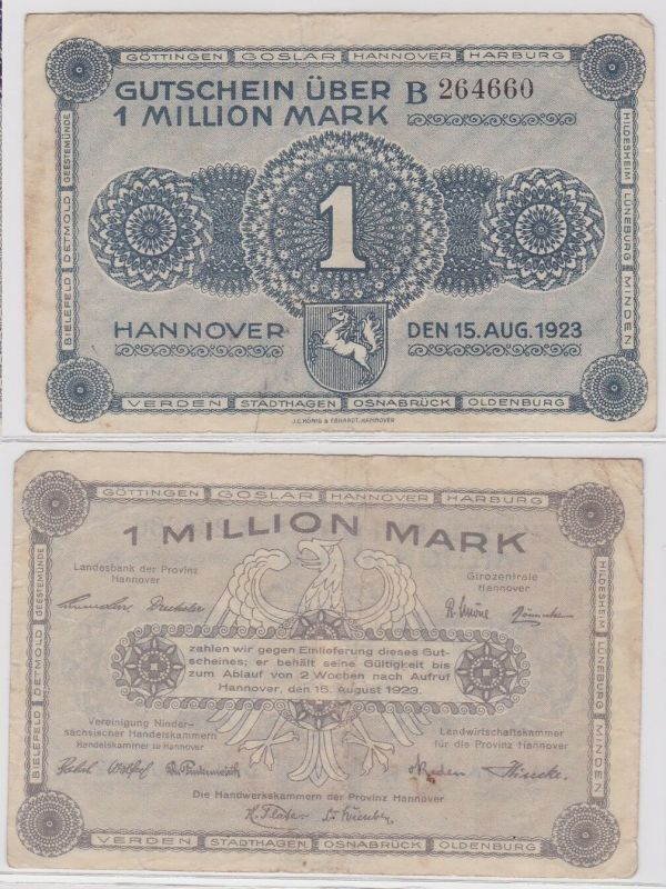 1 Million Mark Banknote niedrsächs.Handelskammern Hannover 15.8.1923 (122274)