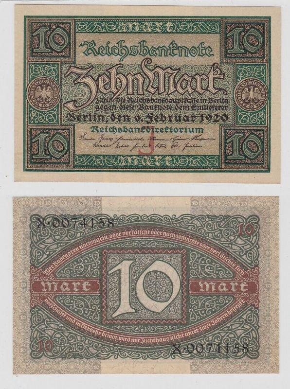 10 Mark Reichsbanknote Deutsches Reich 6.2.1920 Rosenberg 63 a (125926)