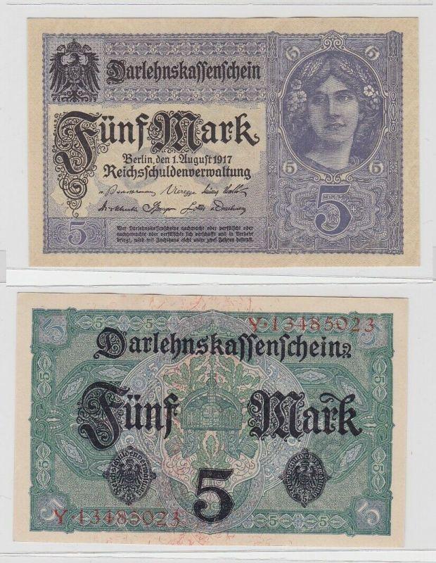 5 Mark Darlehnskassenschein Deutsches Reich 1.8.1917 Rosenberg 54 b (125950)
