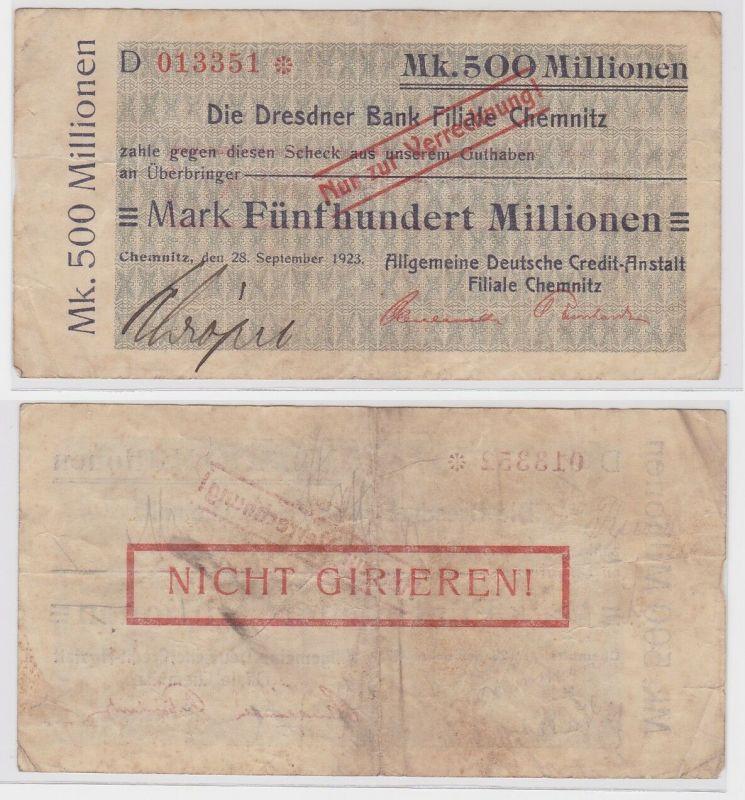 500 Millionen Mark Banknote Chemnitz Dresdner Bank 28.9.1923 (121624)