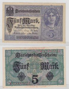 5 Mark Darlehnskassenschein Deutsches Reich 1.8.1917 Rosenberg 54 b (123994)