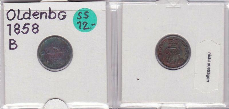 1 Schwaren Kupfer Münze Oldenburg 1858 B (121049)