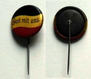 Patriotika Reichsflagge Anstecknadel schwarz weiß rot - Gott mit uns. (132648)