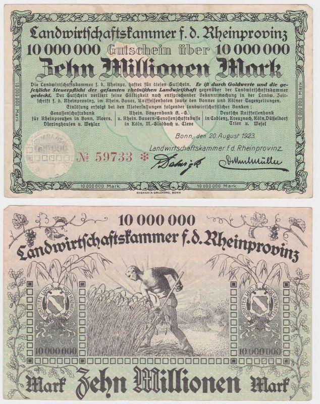 10 Millionen Mark Banknote Bonn Landwirtschaftskammer Rheinprovinz 1923 (122064)