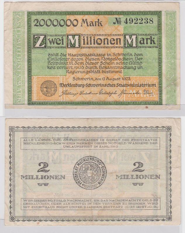 2 Millionen Mark Banknote Freistaat Mecklenburg Schwerin 17.8.1923 (122100)