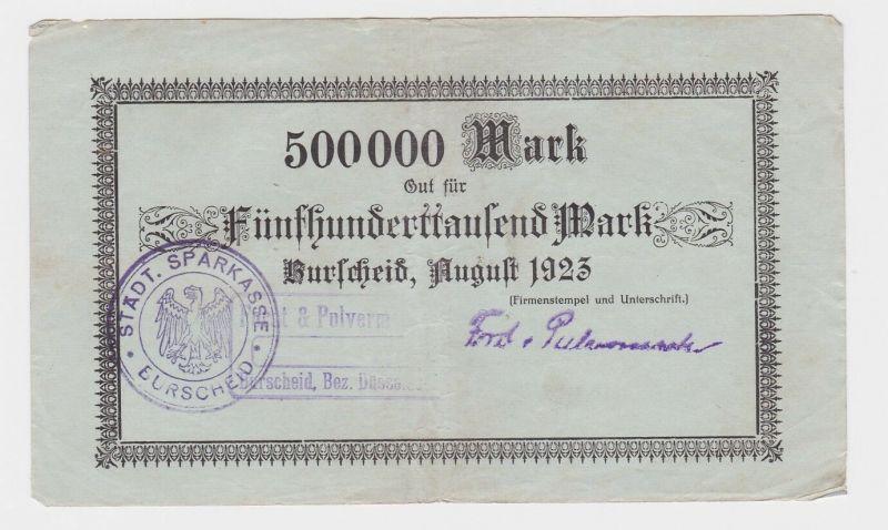 500000 Mark Banknote Burscheid Forst & Pulvermacher 1923 (122067)