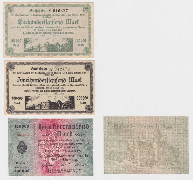 3 Banknoten Stadt und Amtshauptmannschaft Chemnitz 1923 (120795)