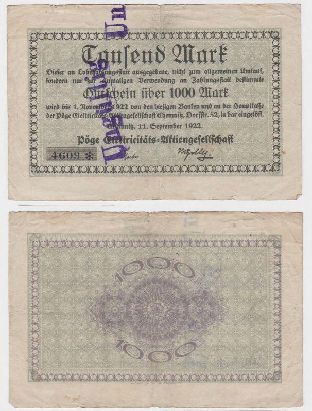 1000 Mark Banknote Chemnitz Pöge Elektrizitäts AG 11.09.1922 (122477)