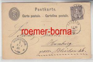 75975 alte Postkarte Schweiz 5 Rappen von Dornach nach Hamburg 1880