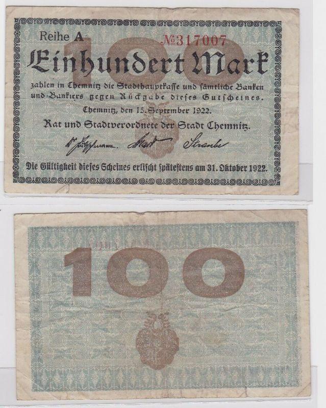 100 Mark Banknote Stadt Chemnitz 15.09.1922 (121248)