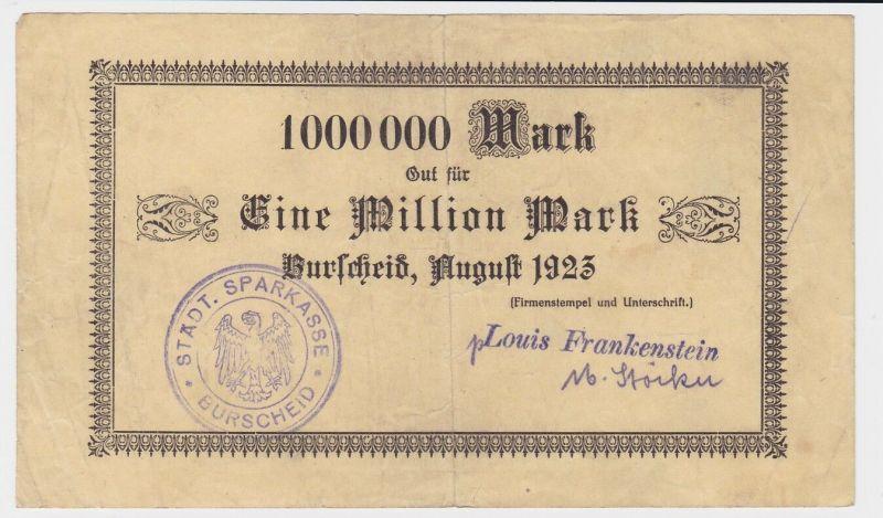1 Million Mark Banknote Burscheid Louis Frankenstein August 1923 (122293)