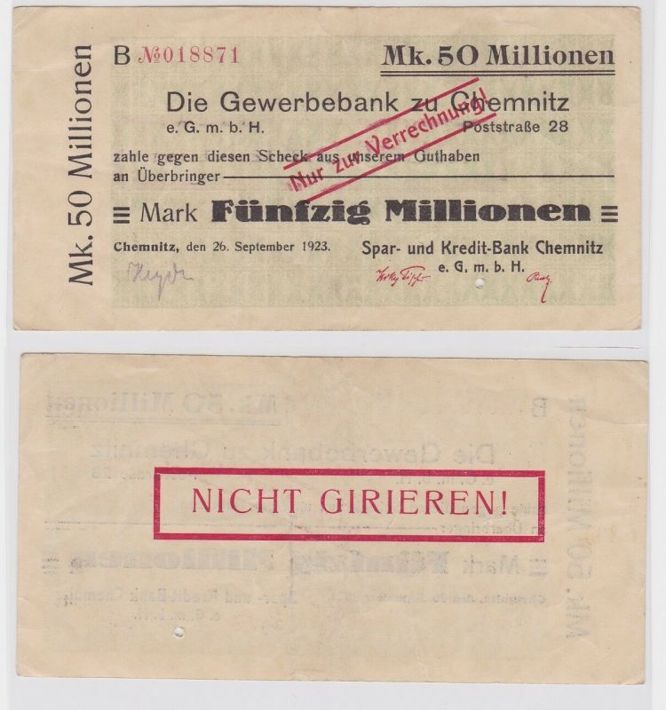 50 Millionen Mark Banknote Gewerbebank zu Chemnitz 26.09.1923 (121447)