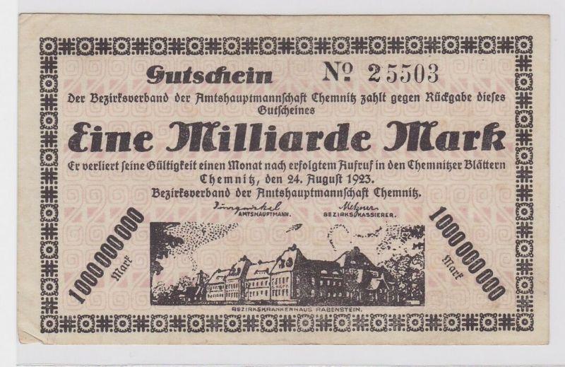 1 Milliarde Mark Banknote Amtshauptmannschaft Chemnitz 24.08.1923 (120245)