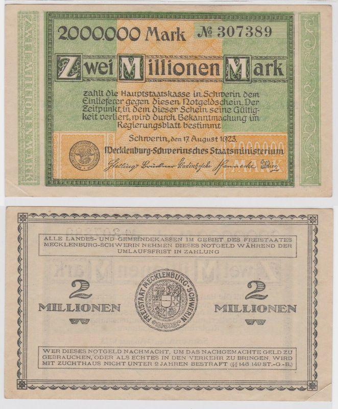2 Millionen Mark Banknote Freistaat Mecklenburg Schwerin 17.8.1923 (122592)