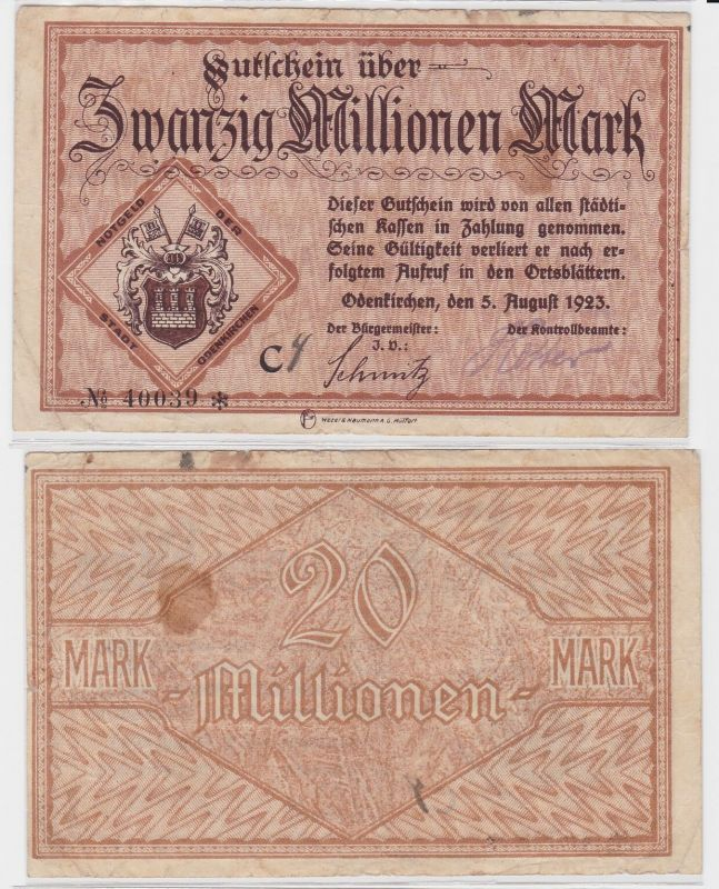 50 Millionen Mark Banknote Stadt Odenkirchen 5.8.1923 (121985)