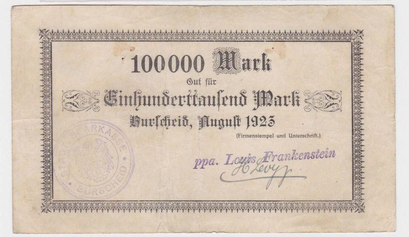 100000 Mark Banknote Burscheid Louis Frankenstein August 1923 (122303)
