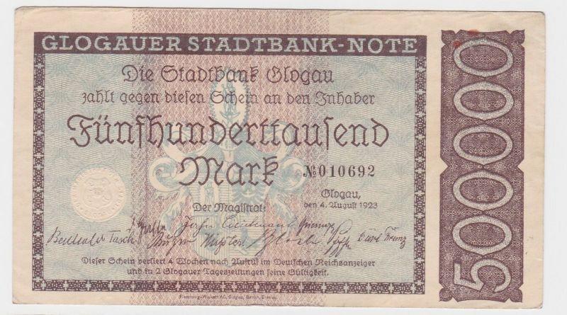500000 Mark Banknote Stadtbank Glogau 4.8.1923 (122001)