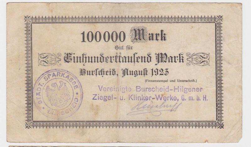 100000 Mark Banknote Burscheid Hilgener Ziegel & Klinkerwerke 1923 (122449)