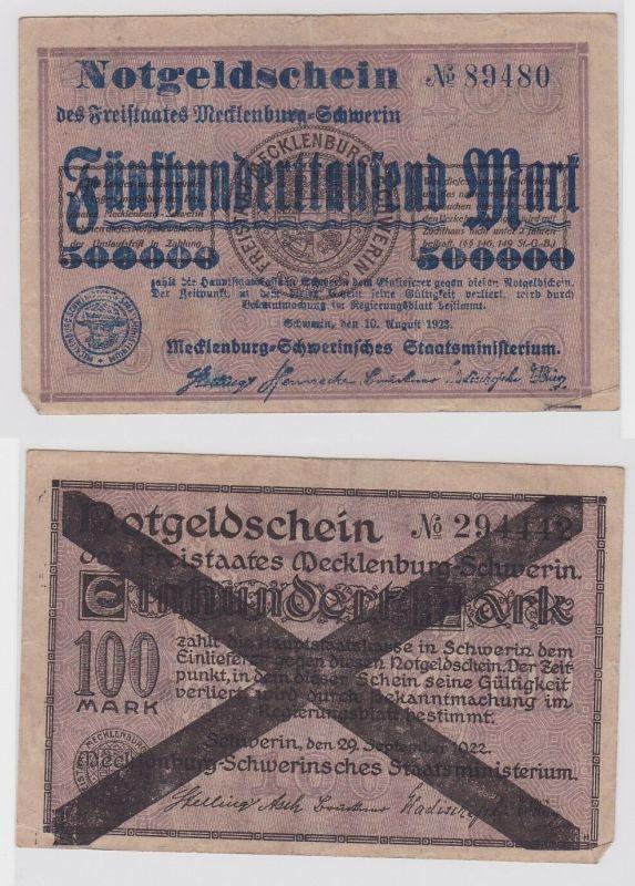 500000 Mark Banknote Freistaat Mecklenburg Schwerin 10.8.1923 (122473)