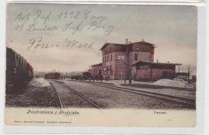 83342 Feldpost Ak Pozdrowienie z Groziska Grätz Dworzec Bahnhof 1914