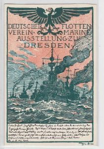 92189 Ak Marine Ausstellung des deutschen Flottenvereins Dresden 1900