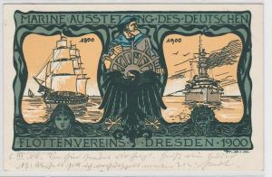 90543 Ak Marine Ausstellung des deutschen Flottenvereins Dresden 1900