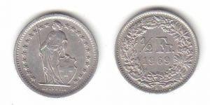 1/2 Franken Nickel Münze Schweiz 1969 B (114174)