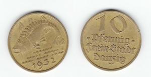 10 Pfennig Messing Münze Danzig 1932 Dorsch Jäger D 13 (123239)