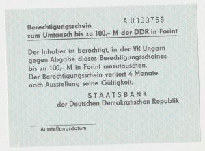 Berechtigungsschein zum Umtausch von 100,- Mark der DDR in Forint (131627)