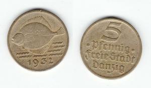 5 Pfennig Messing Münze Danzig 1932 Flunder (121619)