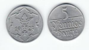 5 Pfennig Kupfer Nickel Münze Danzig 1923 Jäger D 5 (123265)