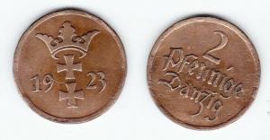 2 Pfennig Kupfer Münze Freie Stadt Danzig 1923 (121179)