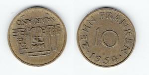 10 Franken Messing Münze Saarland 1954 (124698)