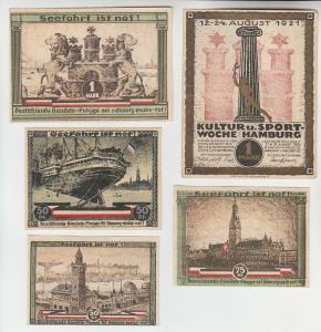 5 Banknoten Notgeld Kultur- und Sportwoche Hamburg 1921 (113922)