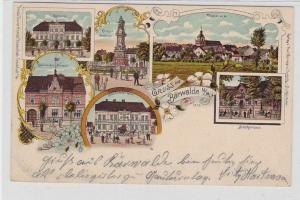 92477 Ak Lithographie Gruß aus Bärwalde N.M.Mieszkowice Hotel, Postamt usw. 1906