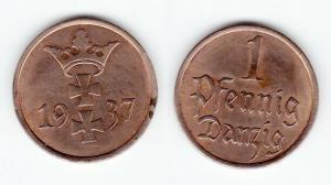 1 Pfennig Kupfer Münze Freie Stadt Danzig 1937 (122400)