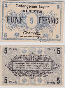 5 Pfennig Banknote Gefangenenlager Chemnitz 1.Weltkrieg (121314)
