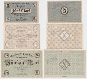 5, 20 und 50 Mark Banknoten Notgeld Stadt Baden Baden 1918 (120688)