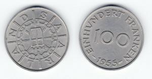 100 Franken Kupfer Nickel Münze Saarland 1955 (123062)