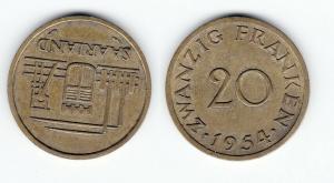 20 Franken Messing Münze Saarland 1954 vz (122515)