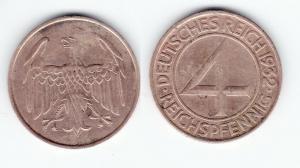 4 Pfennig Kupfer Münze Deutsches Reich 1932 A  (128408)